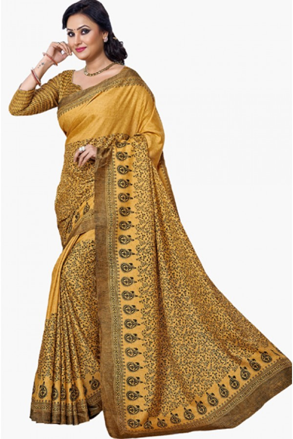 Festival Wear Yellow & Black Dupion Silk Saree  - RKVI6004