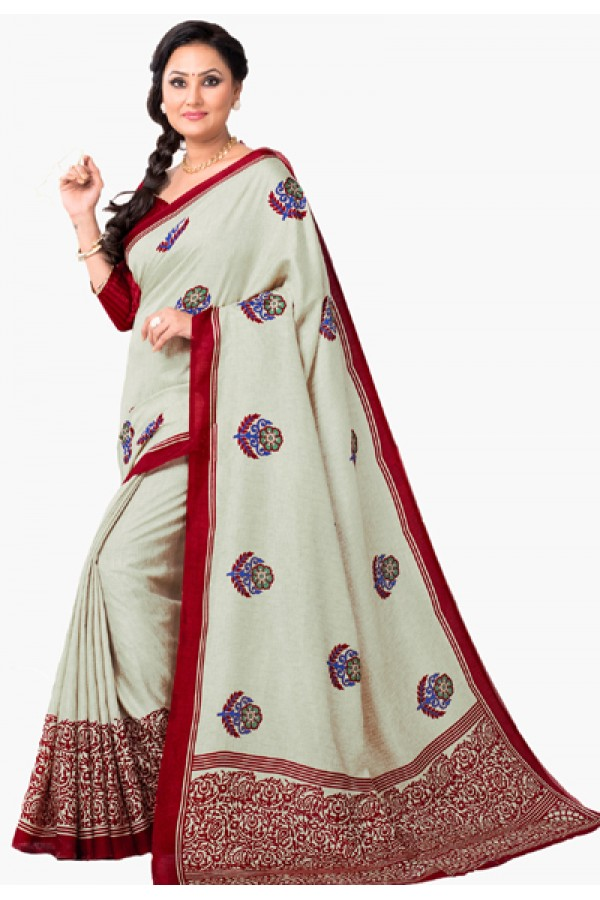 Party Wear Beige & Maroon Dupion Silk Saree  - RKVI6006
