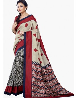 Casual Wear Red & Beige Dupion Silk Saree  - RKVI6009