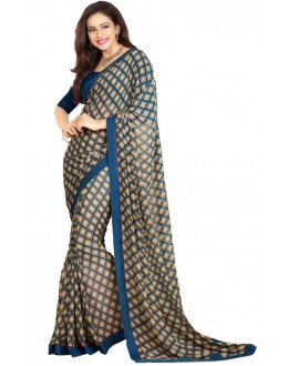 Casual Wear Blue Georgette Saree - RKVF17343