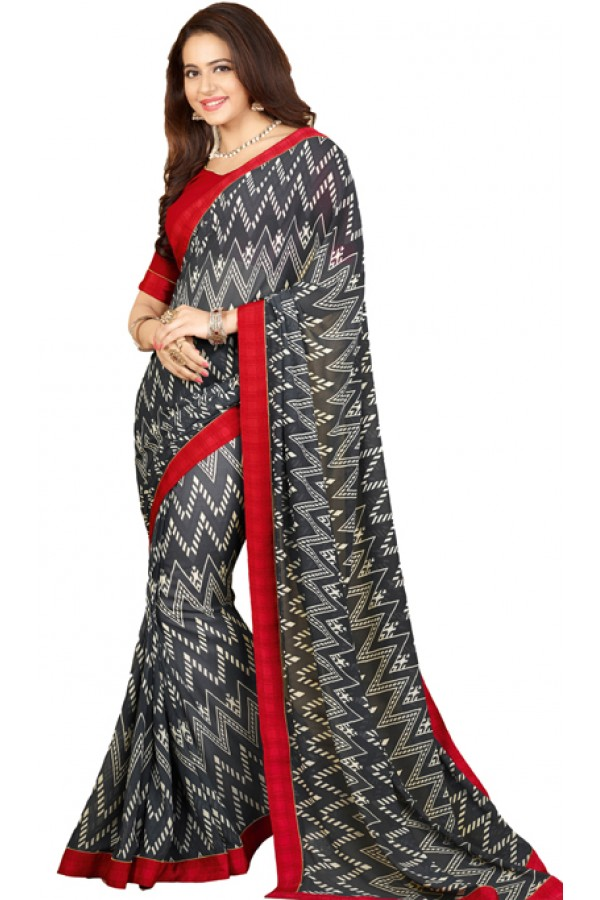 Party Wear Blue & Red Georgette Saree - RKVF17345