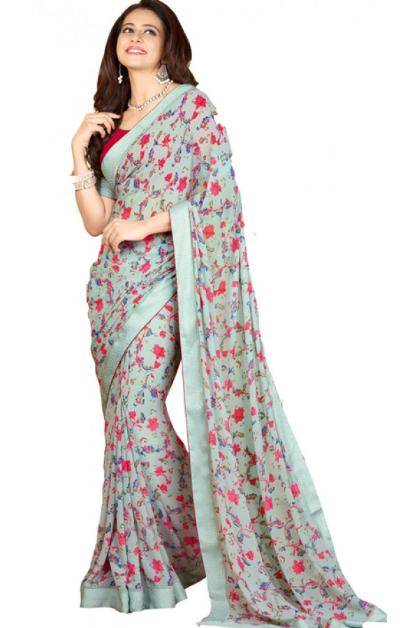 Party Wear Light Blue & Pink Georgette Saree - RKVF17346