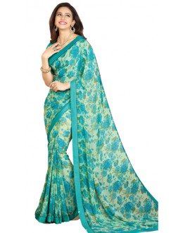 Casual Wear Green & Blue Georgette Saree - RKVF17348