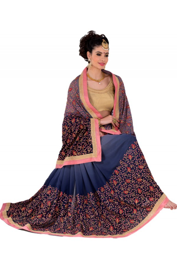 Party Wear Blue Georgette Saree - RKVR1512A