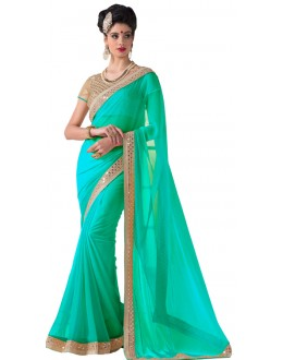 Party Wear Green Chiffon Saree - RKVR1513-B