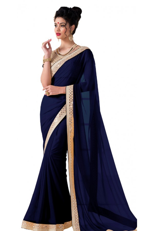 Party Wear Dark Blue Chiffon Saree - RKVR1513-C
