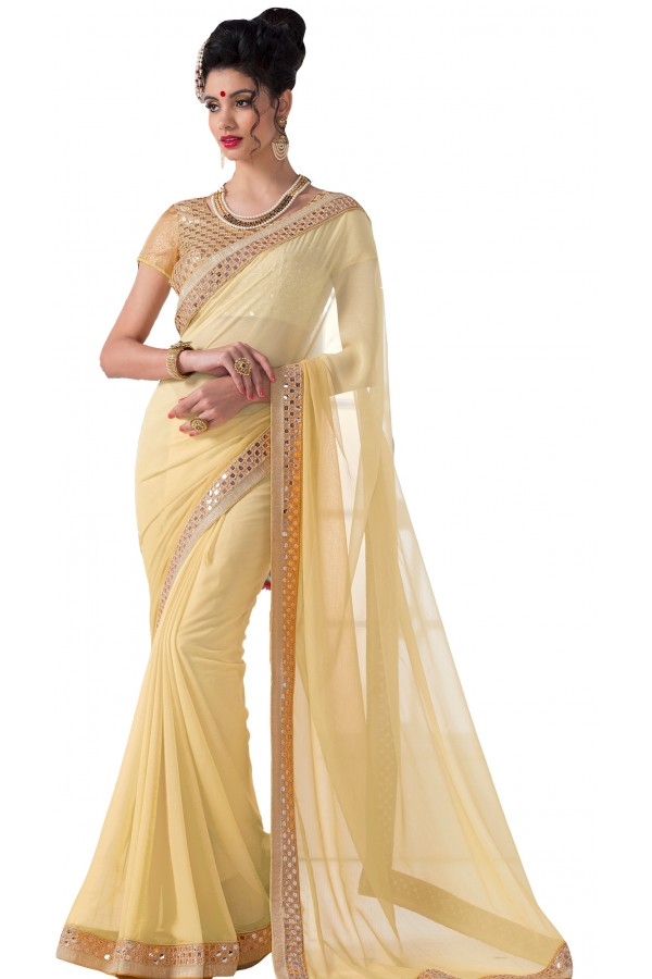 Casual Wear Beige Chiffon Saree - RKVR1513-D