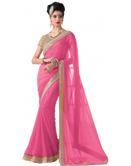 Party Wear Pink Chiffon Saree - RKVR1513-E