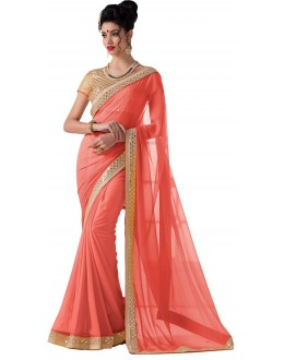 Casual Wear Light Pink Chiffon Saree - RKVR1513-F