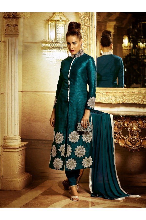 Designer Dark Teal Resham Embroidered Bhagalpuri Silk Salwar Suit - 2106D ( GS-6412 )
