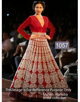 Bollywood Replica-Designer Glamorous Red Velvet Bridal Gown - 1057