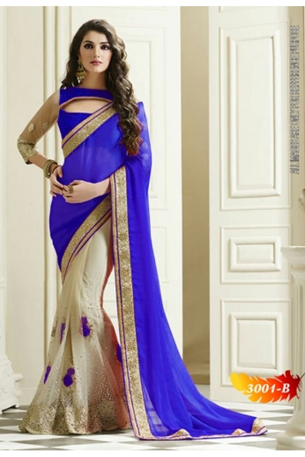 Bollywood Replica -  Designer Blue & Cream Saree - 3100-B