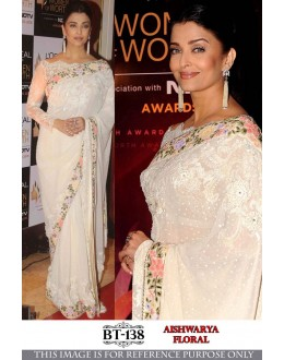 Bollywood Replica - Aishwarya Rai In Designer White Floral Saree - BT-138