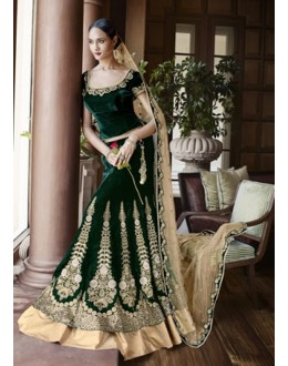 Wedding Special Bottle Green Embroidery Velvet Lehenga Choli - 5050 (MJ-Nakkashi 5044)
