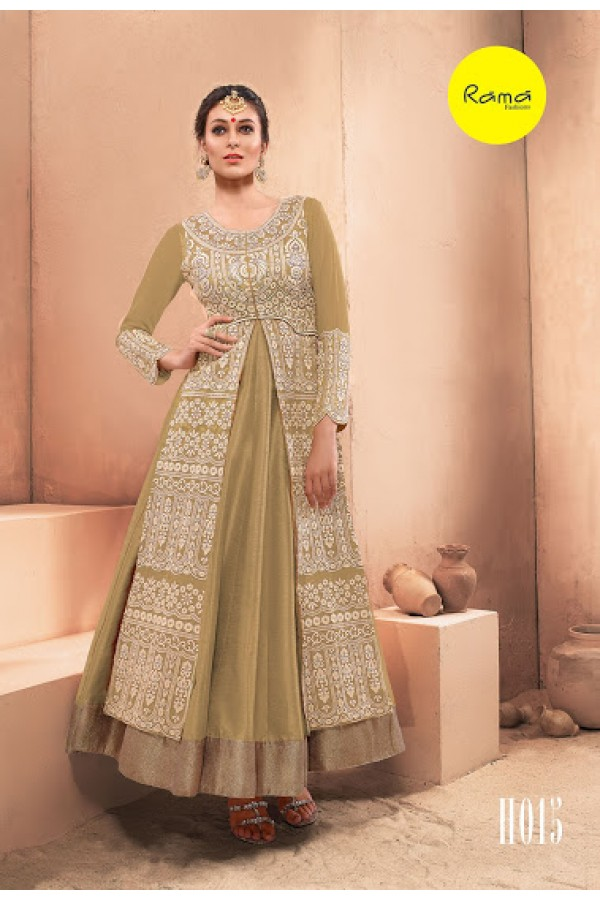 Designer Beige Pure Dhupian Embroidered  Anarkali Gown - 35512 ( MJ-RAMA-GOWN )