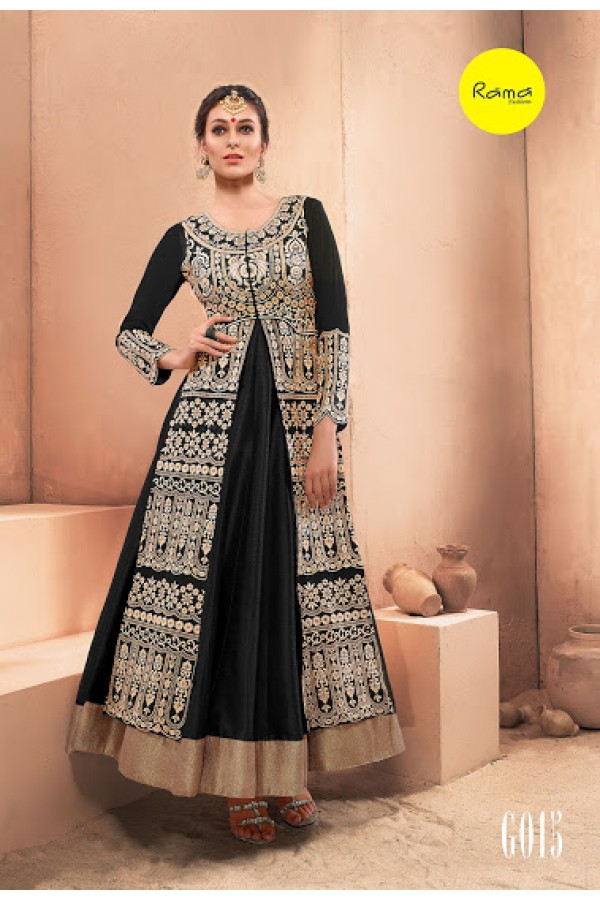 Designer Black Pure Dhupian Embroidered  Anarkali Gown - 35511 ( MJ-RAMA-GOWN )