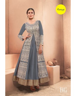 Designer Grey  Pure Dhupian Embroidered  Anarkali Gown - 35509 ( MJ-RAMA-GOWN )