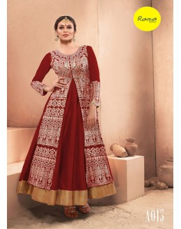 Designer Maroon Pure Dhupian Embroidered  Anarkali Gown - 35505 ( MJ-RAMA-GOWN )