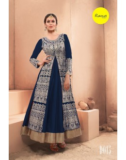Designer Navy Blue Pure Dhupian Embroidered  Anarkali Gown - 35508 ( MJ-RAMA-GOWN )