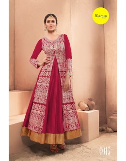 Designer Pink Pure Dhupian Embroidered  Anarkali Gown - 35507 ( MJ-RAMA-GOWN )