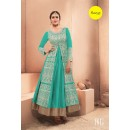 Designer Turquoise Pure Dhupian Embroidered  Anarkali Gown - 35510 ( MJ-RAMA-GOWN )