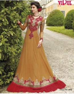 Diwali Special Beige Floor Length Georgette Embroidered Gown -3502(MJ-VIPUL)