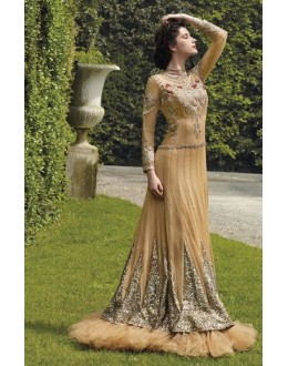 Diwali Special Beige Floor Length Net Embroidered Gown -3503(MJ-VIPUL)