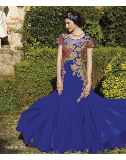 Diwali Special Blue Floor Length Georgette Embroidered Gown -3504(MJ-VIPUL)