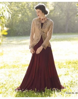 Diwali Special Brown Floor Length Georgette Embroidered Anarkali Suit-3509(MJ-VIPUL)