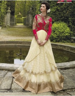 Diwali Special Cream & Red Floor Length Net Jacquard Embroidered Anarkali Suit-3508(MJ-VIPUL)