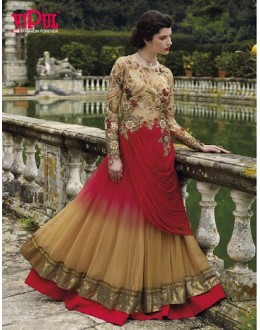 Diwali Special Red & Beige Floor Length Shaded Net Embroidered Anarkali Suit-3505(MJ-VIPUL)