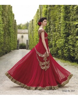 Diwali Special Red Floor Length Georgette Embroidered Gown -3501(MJ-VIPUL)
