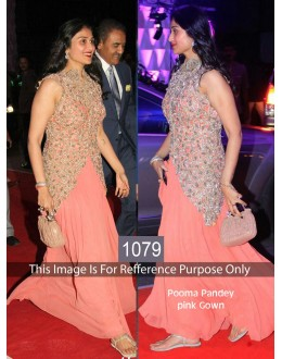 Bollywood Replica-Poonam Pandey Designer Peach Anarkali Suit  - 1079