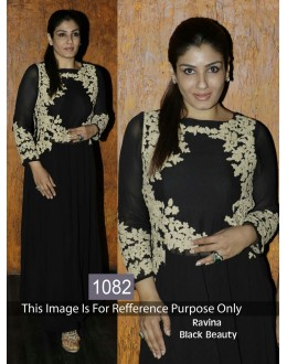 Bollywood Replica-Raveena Tandon Designer Black Anarkali Suit  - 1082