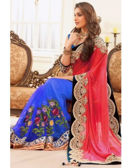 Bollywood Replica - Party Wear Embroidered Pure Georgette Net Blue & Pink Saree - S-217-D ( S-217 )