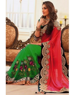 Bollywood Replica - Party Wear Embroidered Pure Georgette Net Green & Pink Saree - S-217-C ( S-217 )