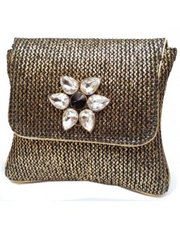 Designer Adorable Black With Golden Jute Party Wear Clutch -NS 78 ( SDF-DP )