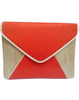 Designer Bright Red Raw Silk & Jute Envelope Style Party Wear Hand Clutch -NS 61 ( SDF-DP)