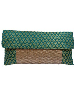 Designer Brocade Turquoise Party Wear Hand Clutch -NS 41 ( SDF-DP)