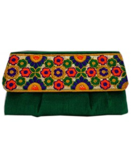 Designer Embroidered Green Fancy Party Wear Hand Clutch -NS 26 ( SDF-DP)