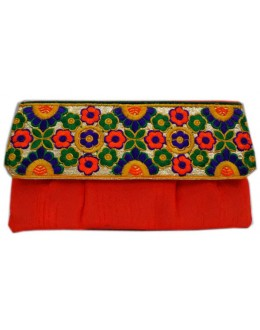 Designer Embroidered Red Fancy Party Wear Hand Clutch -NS 23 ( SDF-DP)