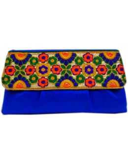Designer Embroidered Royal Blue Fancy Party Wear Hand Clutch -NS 25 ( SDF-DP)