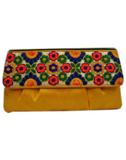 Designer Embroidered Yellow Fancy Party Wear Hand Clutch -NS 24 ( SDF-DP)
