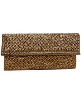 Designer Glamorous Heavy Worked Golden Party Wear Hand Clutch-NS 96 ( SDF-DP )