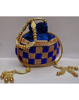 Designer Glamorous Heavy Worked Royal Blue Party Wear Potli-NS 98 ( SDF-DP )
