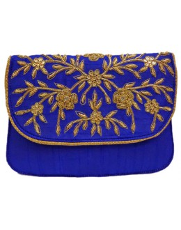 Designer Heavy Worked Royal Blue Raw Silk Party Wear Hand Clutch -NS 35 ( SDF-DP)