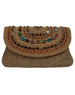 Designer Jute Heavy Stone Worked Party Wear Hand Clutch -NS 39 ( SDF-DP)