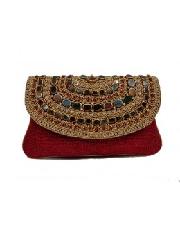 Designer Red Heavy Stone Worked Party Wear Hand Clutch -NS 38 ( SDF-DP)