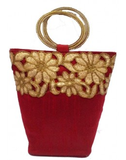 Designer Red Raw Silk Heavy Worked Circular Handle Party Wear Clutch -NS 63 ( SDF-DP)