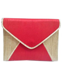 Designer Rose Red Raw Silk & Jute Envelope Style Party Wear Hand Clutch -NS 59 ( SDF-DP)